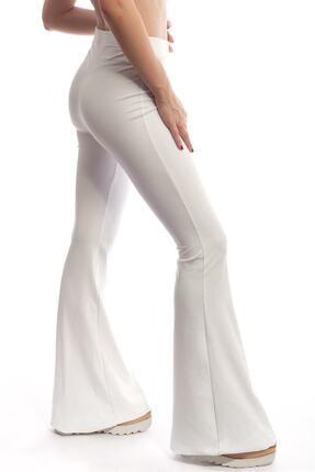 Modoo Tekstil Kadın Yüksel Bel ispanyol Paça Pantolon - Beyaz 0