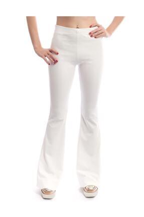 Modoo Tekstil Kadın Yüksel Bel ispanyol Paça Pantolon - Beyaz 1