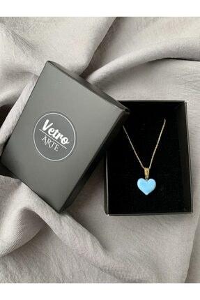 Vetro Arte Altın Kaplama 925 Ayar Gümüş El Yapımı Cam Mavi Kalp Kolye 1