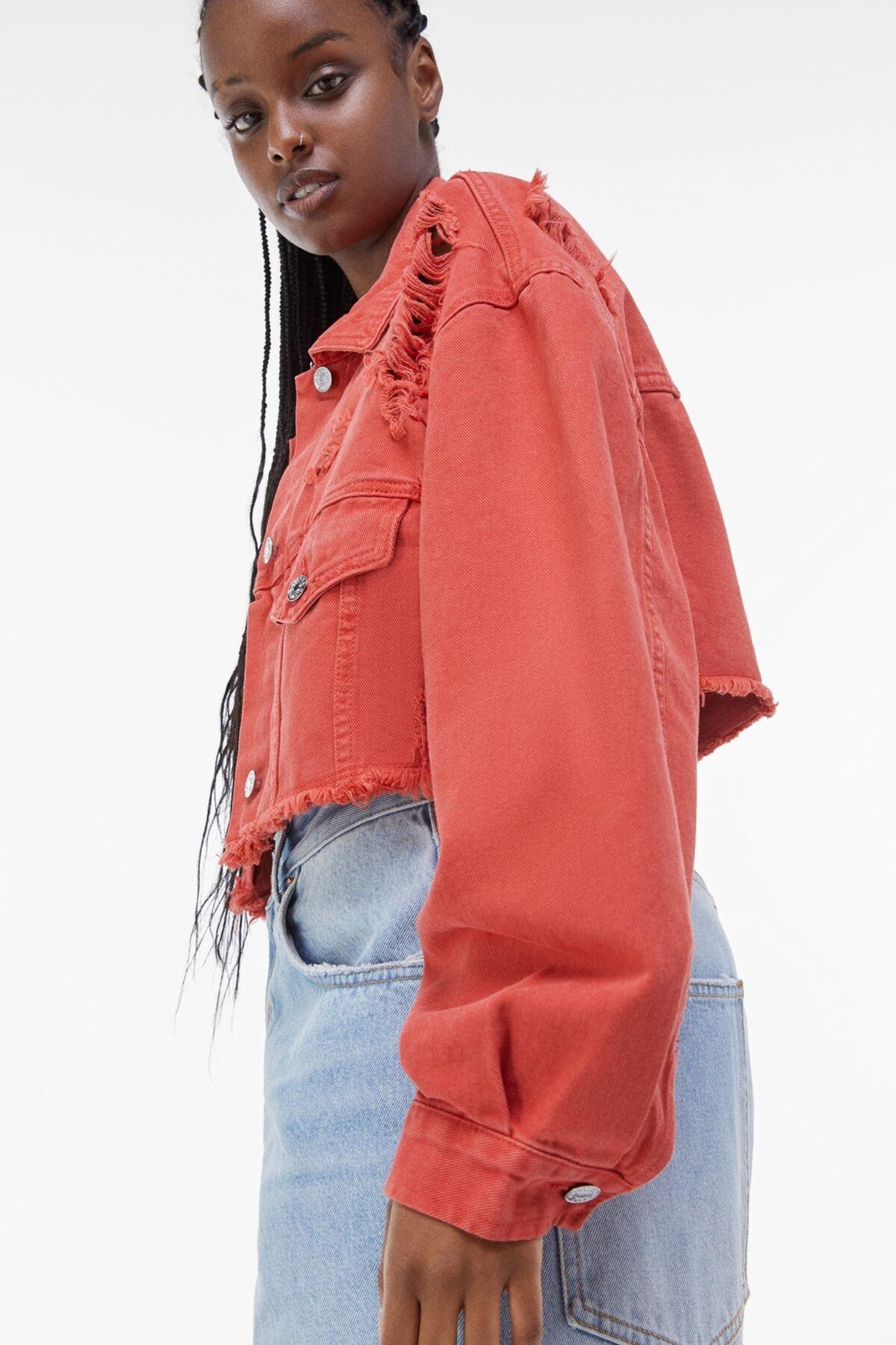 Bershka Kadın Kırmızı Acid Wash Distressed Ceket 01308019 2