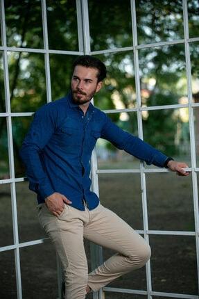 BAYEFENDİ Erkek Mavi Slim Fit Cepli Likralı Kot Gömlek 2