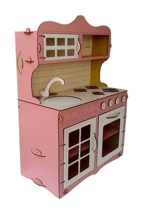 ALFAGAMA Mini Ahşap Çocuk Oyun Mutfağı Tezgah Dolap Seti Evcilik Oyunu Oyuncak Pembe Mutfak 65 cm 2
