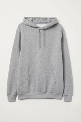 Unero Unisex Gri Kapüşonlu Kangru Cep Oversize Sweatshirt 0