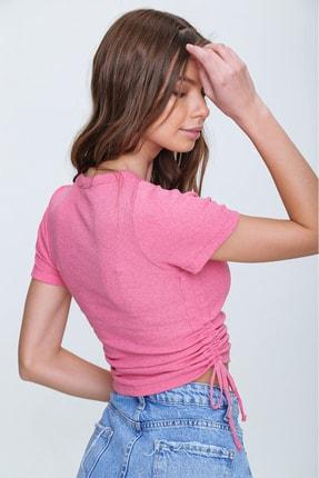 Trend Alaçatı Stili Kadın Pembe Yanı Büzgülü Kaşkorse Bluz ALC-X6078 3