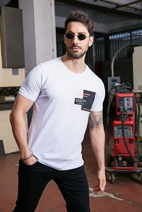 Sateen Men Erkek Beyaz Yazı Işlemeli T-Shirt 1