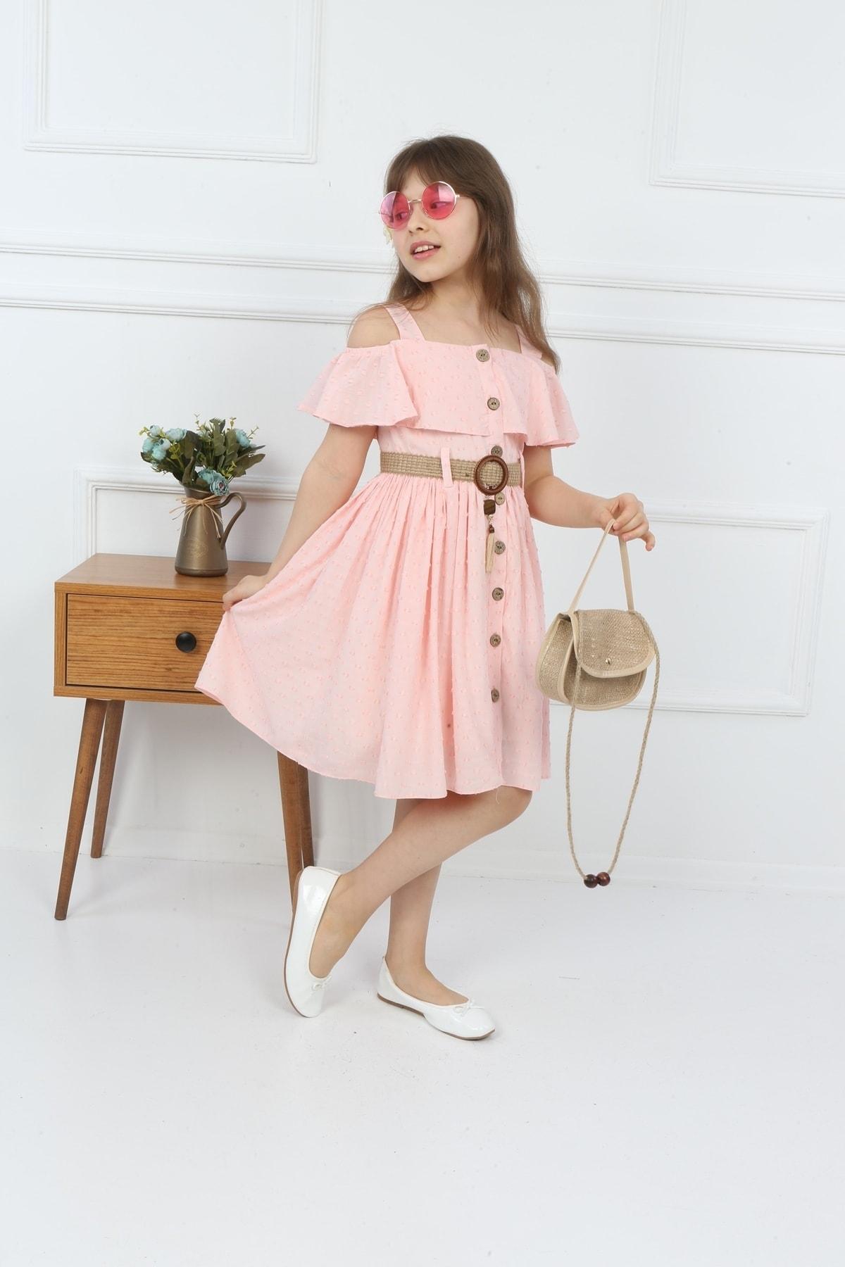 Çocuk Pembe Çantalı Boydan Düğmeli Elbise