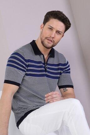 Ferraro Erkek Lacivert  Polo Yaka Fermuarlı Pamuk Triko T-Shirt 1