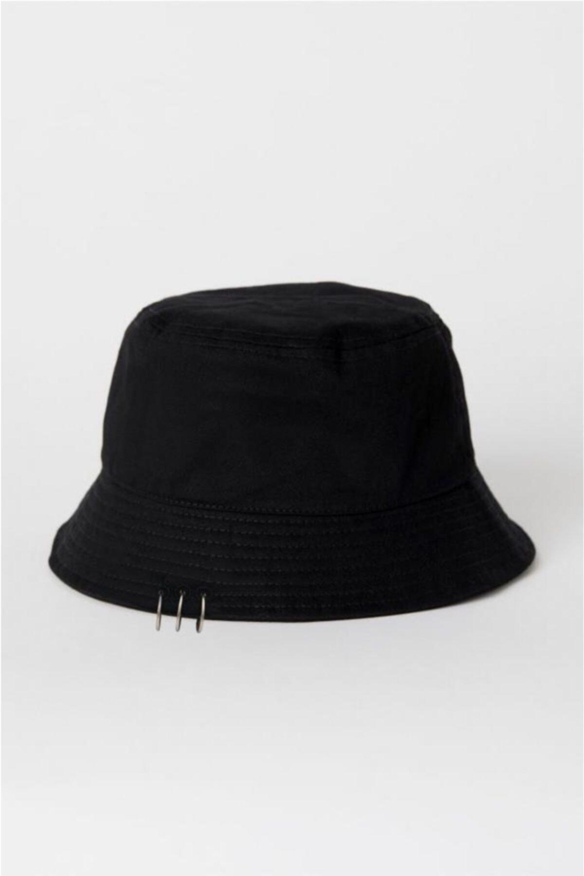 Siyah Piercing Detay Balıkçı Şapka Bucket Hat