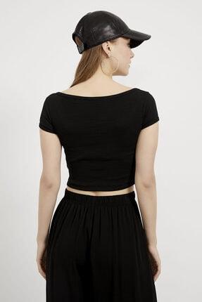 Arma Life Kadın Siyah Düğmeli Crop Bluz 4