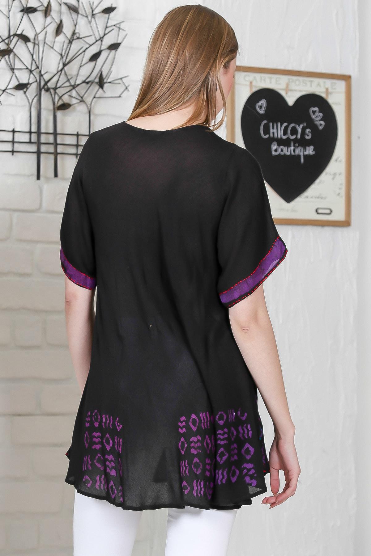 Chiccy Kadın Siyah Çiçek Baskılı Nakış Dikişli Kısa Kol Batik Salaş Dokuma Bluz M10010200BL95495 4