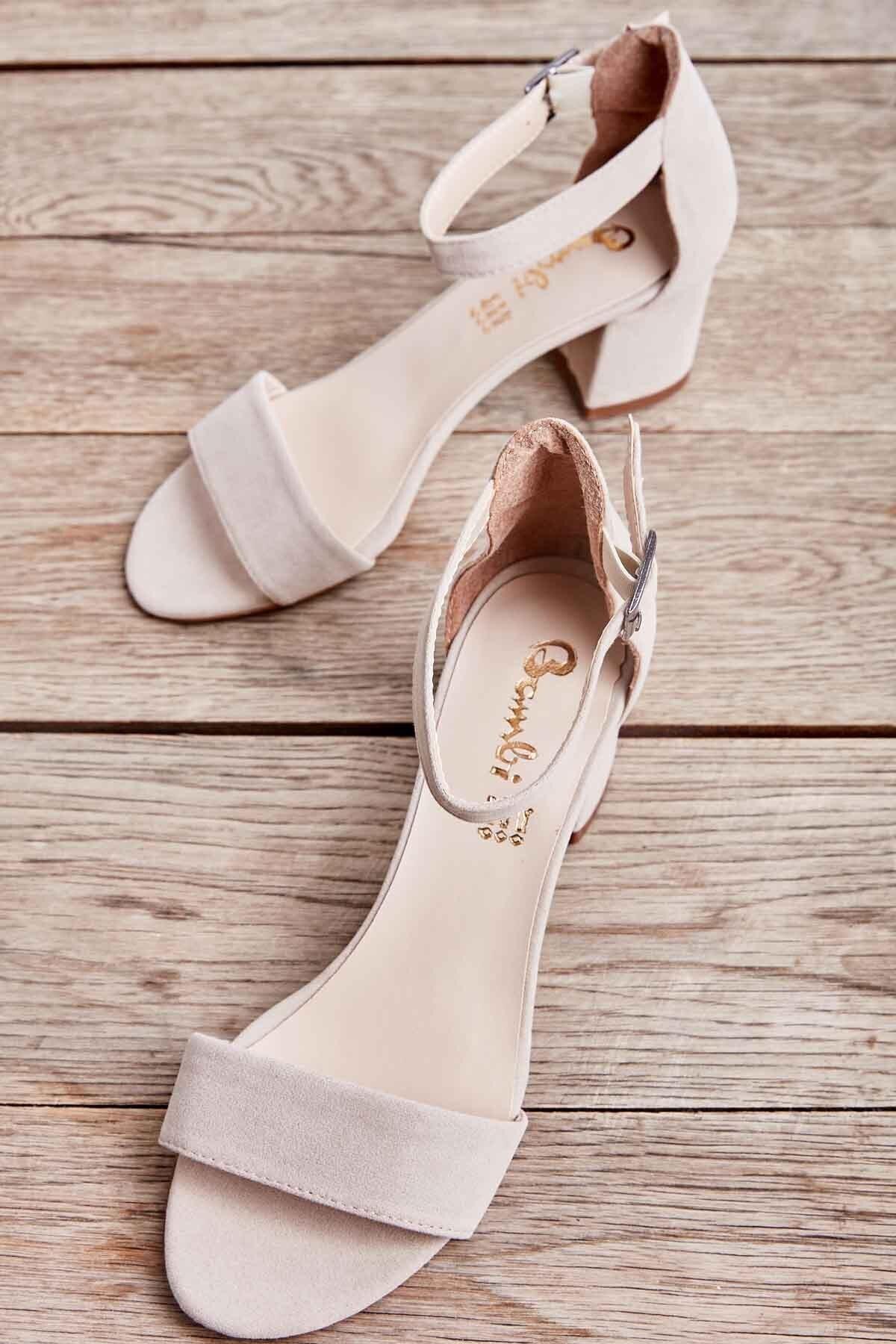 Bej Süet Kadın Klasik Topuklu Ayakkabı K01503724072