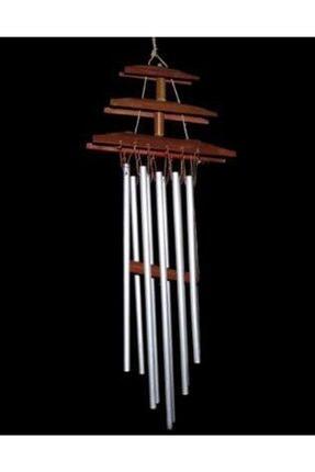 Hormiga Ahşap Bambu Çatı Tasarımlı Metal Çubuklu Rüzgar Gülü Balkan Bahçe Kapı Çanı Süsü 0