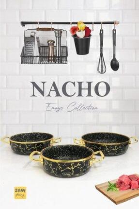 Nacho Emaye - Granit 3'lü Sahan Seti Lacivert-gold ZNS11257Z