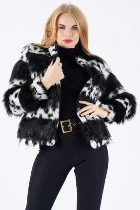 Sense Kadın Siyah Beyaz Çıtçıtlı Astarlı Peluş Ceket Ckt32378 1
