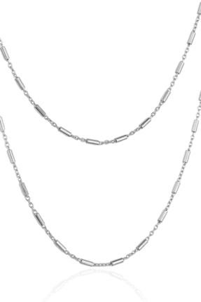 By Barun Silver Kadın Gümüş Rengi Şarnel Zincir Kolye 0