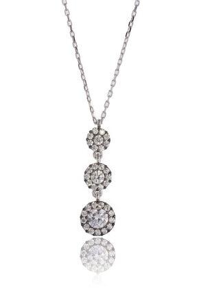 By Barun Silver 3'lü Beyaz Safirli Tria Kolye - Gümüş Rengi 0