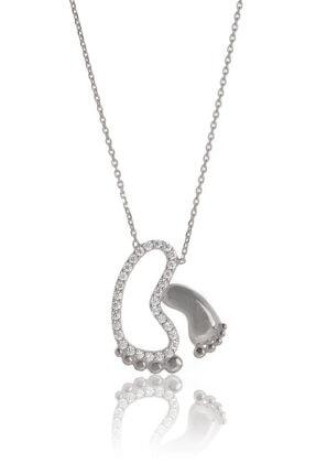 By Barun Silver Kadın 925 Ayar Gümüş  Ayak İzi Kolye 0
