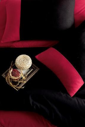 Cotton Touch Plain Siyah Kırmızı Ranforce Çift Kişilik Nevresim Takımı 2