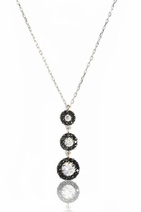 By Barun Silver Kadın Gümüş Rengi  925 Ayar Gümüş  Siyah Safirli Tria Kolye 0