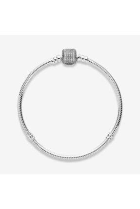 My Story Pandora Uyumlu Taşlı Silindir Kilit Gümüş Bileklik 0