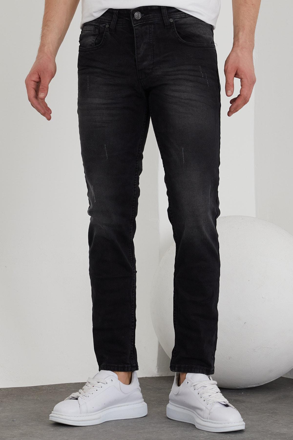 Erkek Siyah Taşlı Slim Fit Jean Pantolon