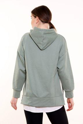 MARIQUITA Kadın Yeşil Mari Gömlekli Kapşonlu Sweat 3