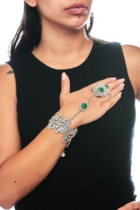 ZeyDor Accessories Kadın Yeşil Gri Osmanlı Tasarım Taşlı Şahmeran 0