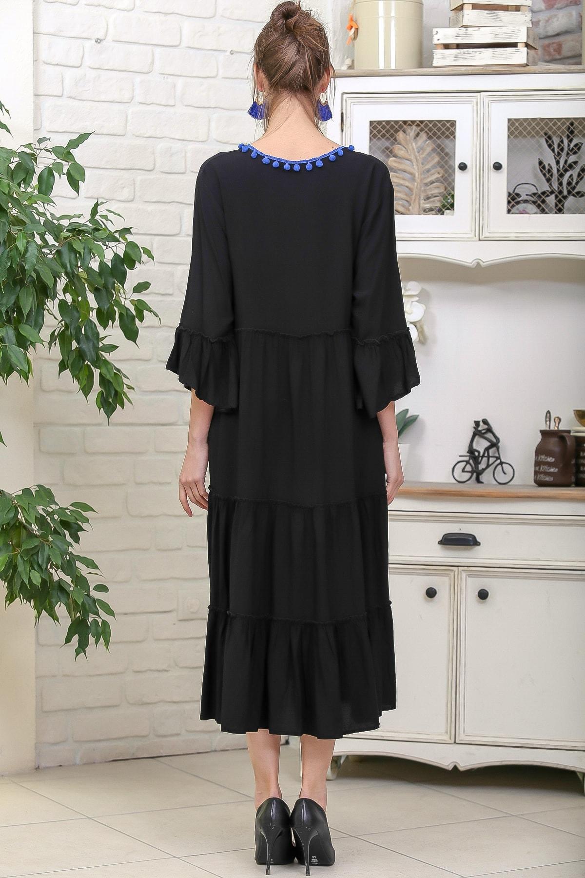 Chiccy Kadın Siyah-Mavi V Yaka Ponpon Detaylı Püsküllü Bağcıklı Salaş Dokuma Elbise M10160000EL95931 4