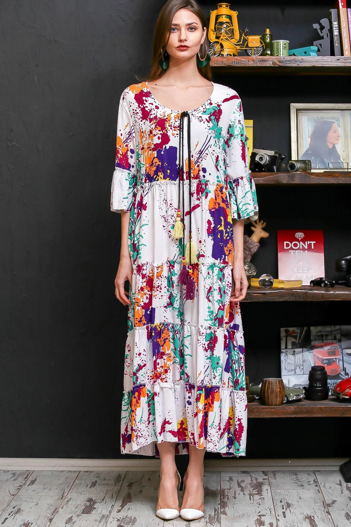 Chiccy Kadın Beyaz Fırça Desen Püsküllü Bağcıklı Salaş Dokuma Elbise M10160000EL95926 3