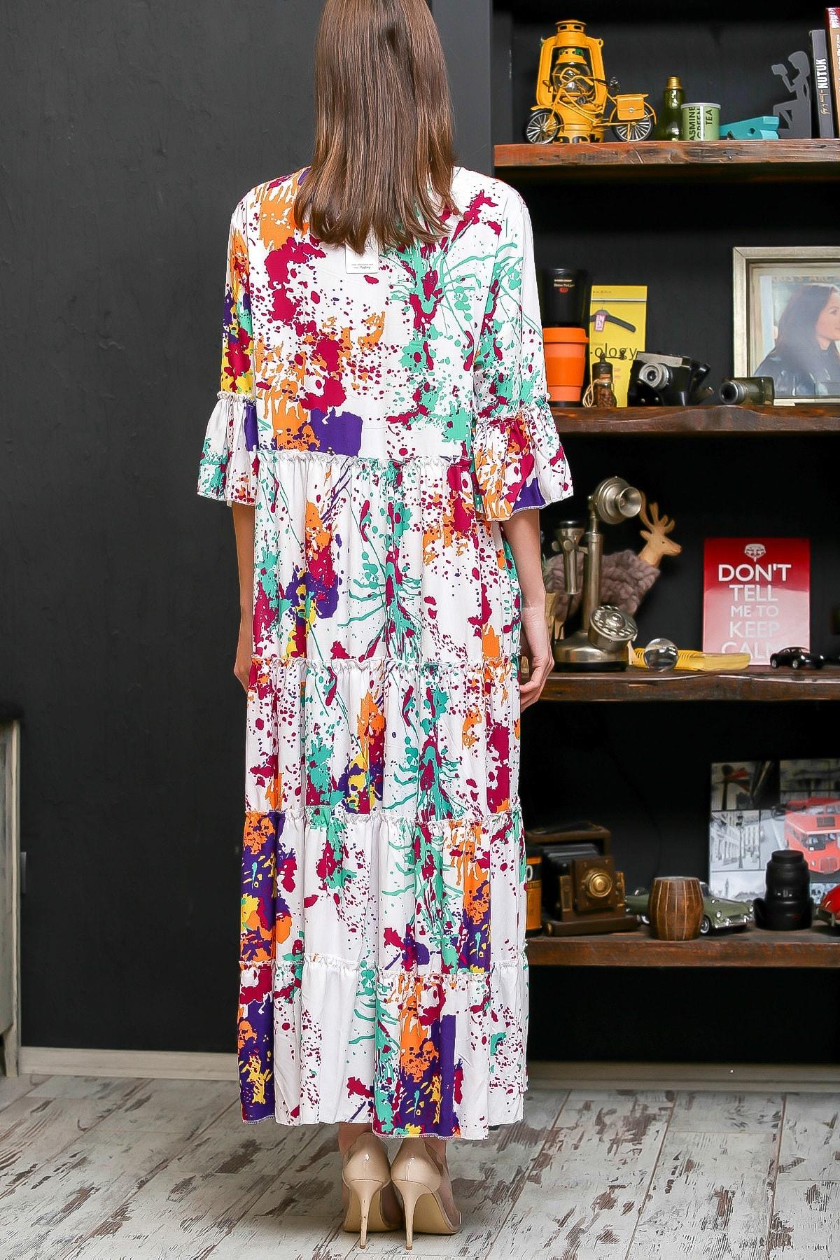 Chiccy Kadın Beyaz Fırça Desen Püsküllü Bağcıklı Salaş Dokuma Elbise M10160000EL95926 4