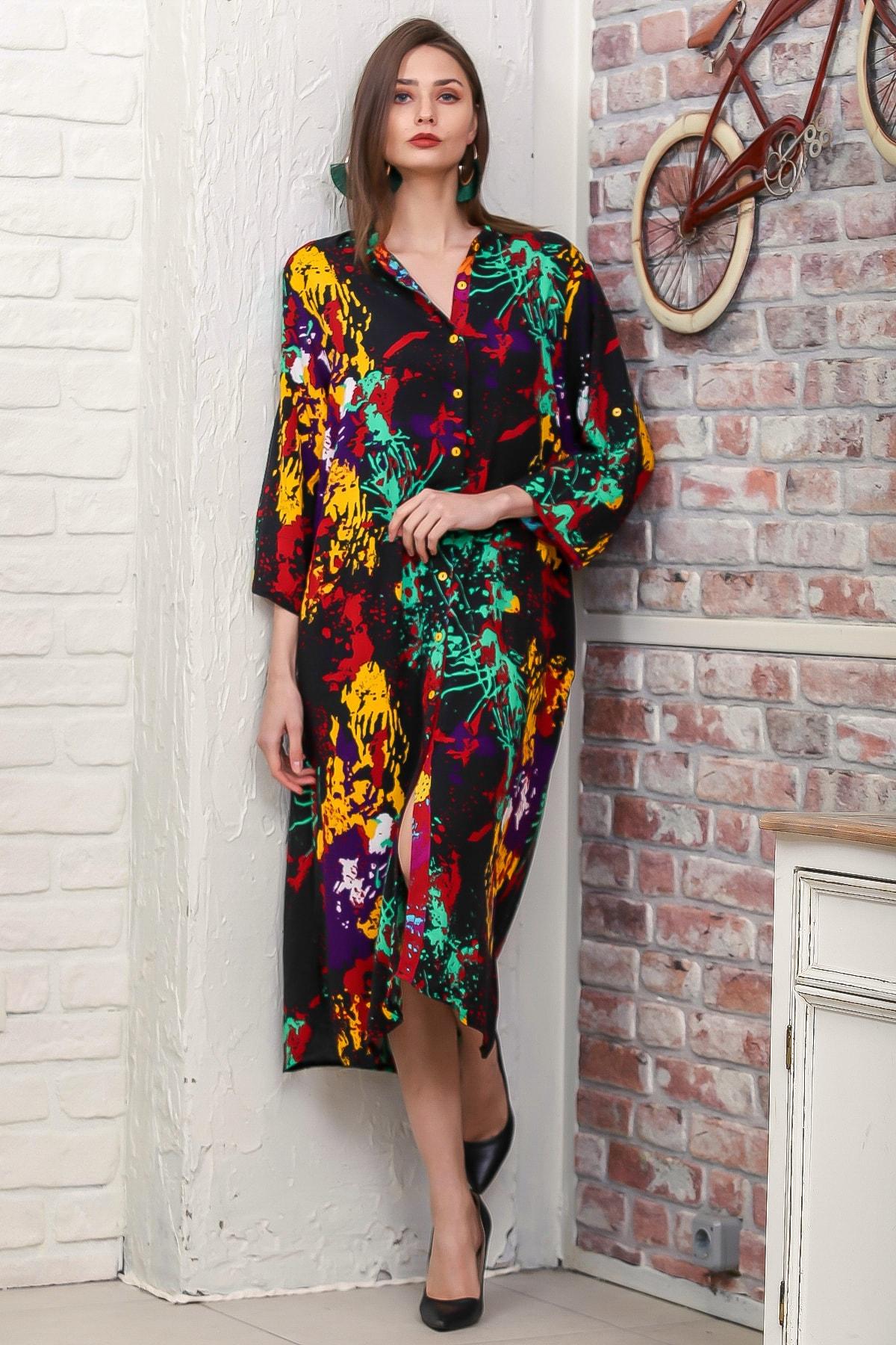 Chiccy Kadın Siyah Fırça Desen Yırtmaçlı Salaş Dokuma Gömlek Elbise M10160000EL95921 1