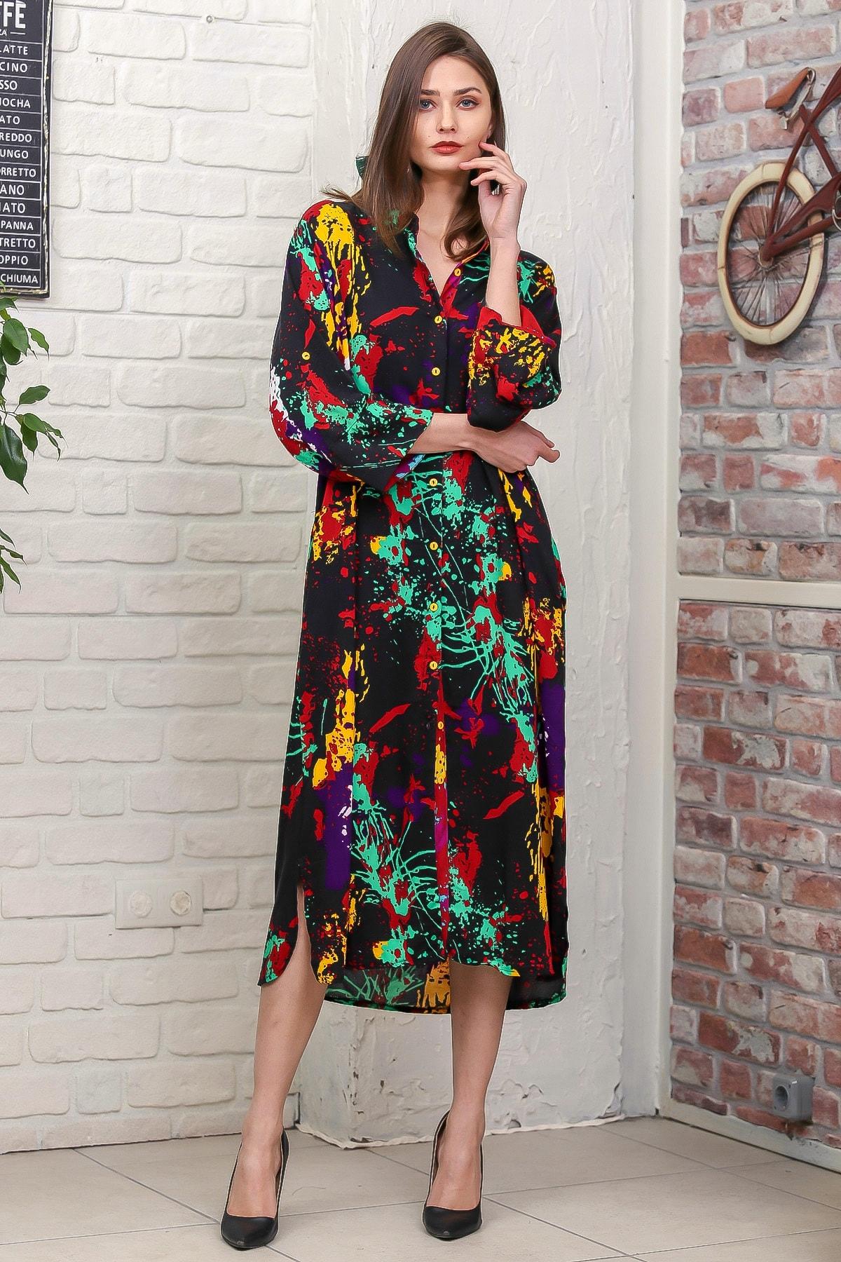 Chiccy Kadın Siyah Fırça Desen Yırtmaçlı Salaş Dokuma Gömlek Elbise M10160000EL95921 3
