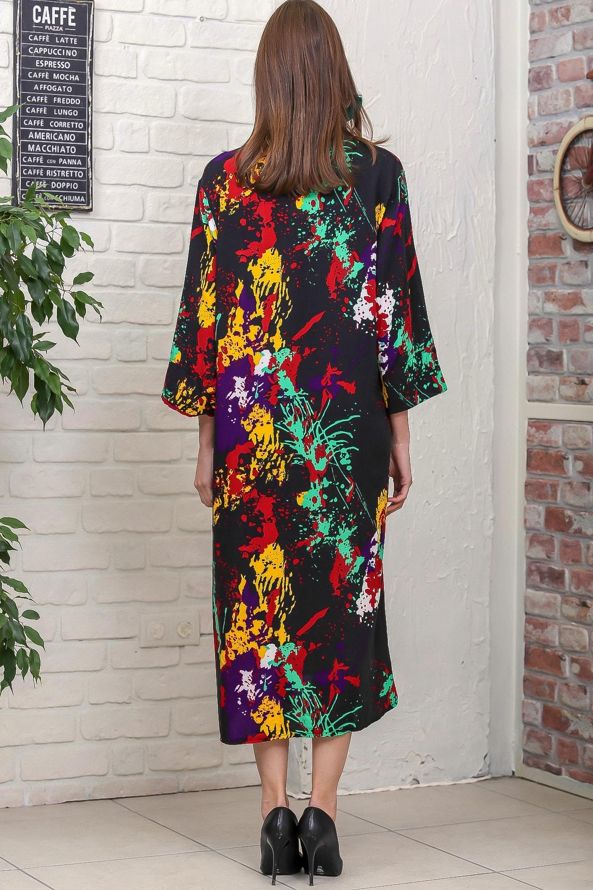 Chiccy Kadın Siyah Fırça Desen Yırtmaçlı Salaş Dokuma Gömlek Elbise M10160000EL95921 4