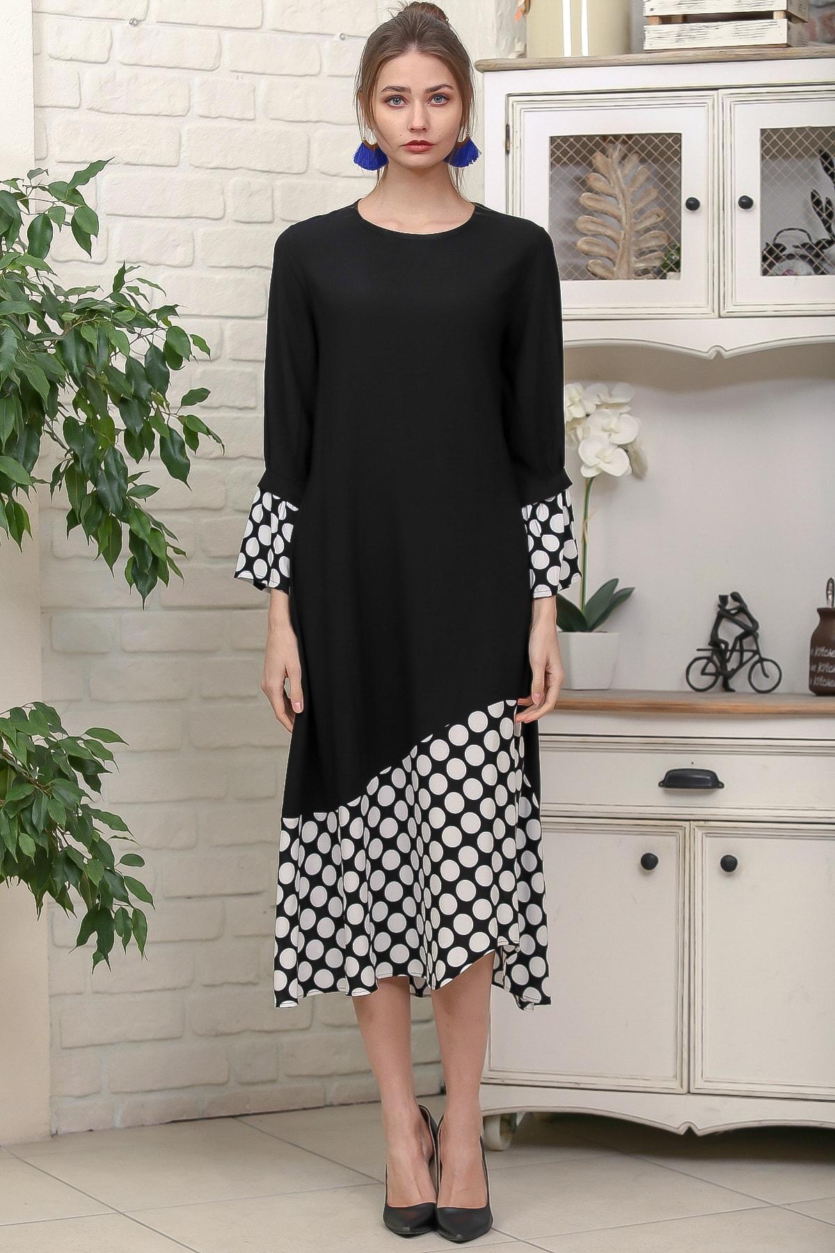 Chiccy Kadın Siyah Sıfır Yaka Puantiye Etek Ucu Bloklu 3/4 Kol Elbise M10160000EL95895 3