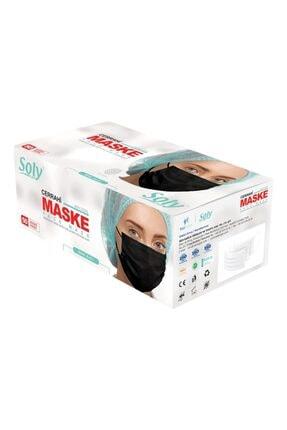 SOLY CARE 3 Katlı Siyah Maske 100 Adet ( 2 Kutu ) 0