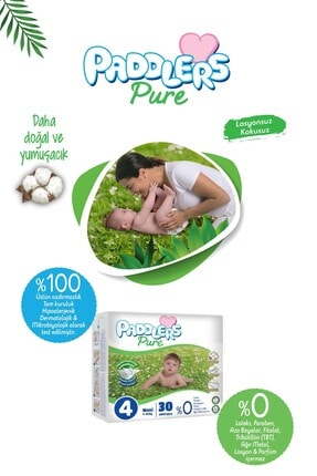 Paddlers Pure Bebek Bezi 5 Numara Junior 4 Adet (11-18 Kg)+ 40'lı Islak Havlu 1