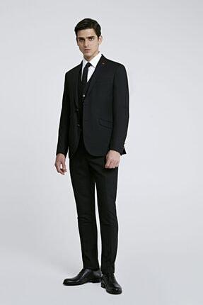 Erkek Siyah Twn Slim Fit Armürlü Yelekli Takım Elbise resmi