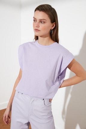 TRENDYOLMİLLA Lila Kolsuz Basic Örme T-Shirt TWOSS20TS0021 1