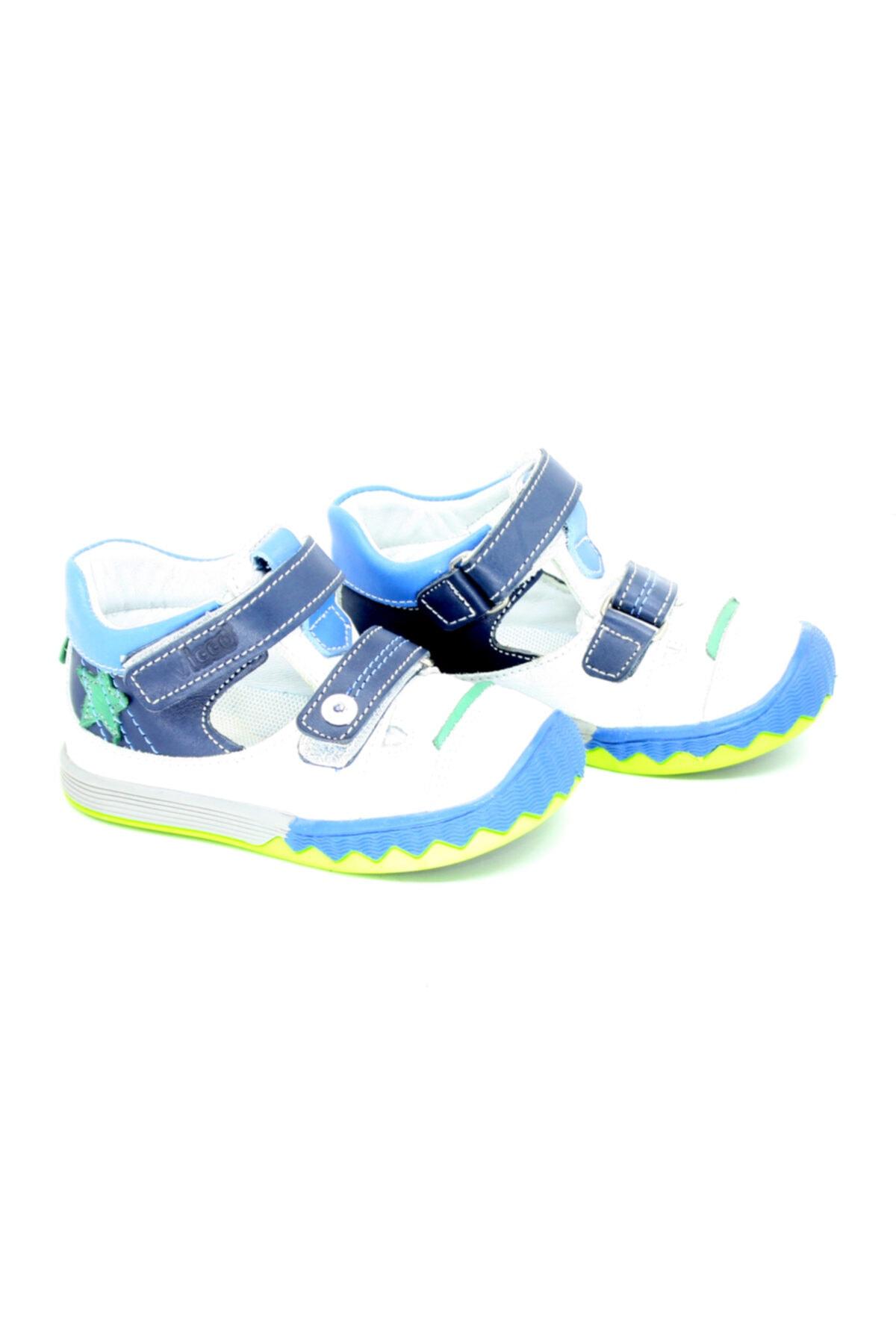 910065 Hakiki Deri Bebe Erkek Çocuk Ortepedik Rahat Cırtlı Ayakkabı