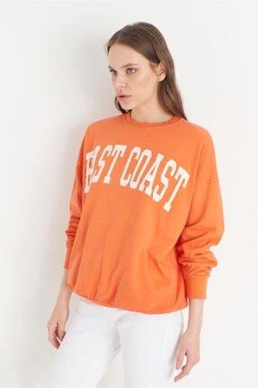 Miyore East Coast Baskılı Sweatshırt- Orange 1
