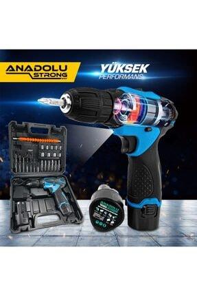 Anadolu Strong 12v Çift Akülü Şarjlı Matkap Li-ion Bataryalı 27 Parça Matkap Ans1062m 2
