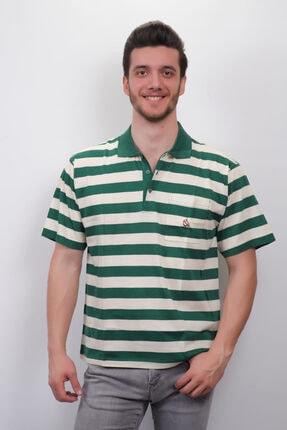 Junior Erkek Yeşil Çizgili Polo Yaka T-shirt  3001 0