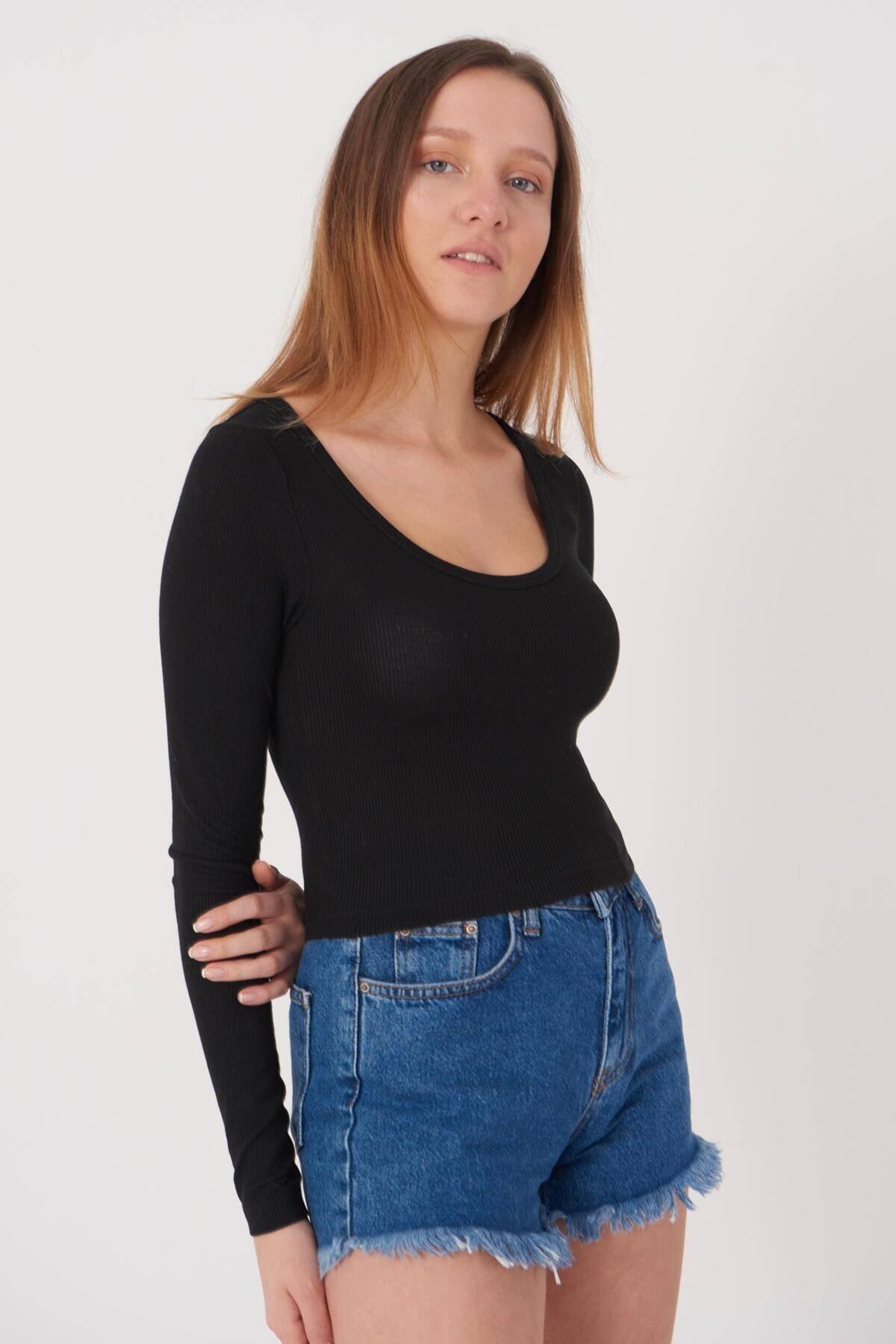 Addax Kadın Siyah Basic Bluz B1090 - T13 ADX-0000023405 2