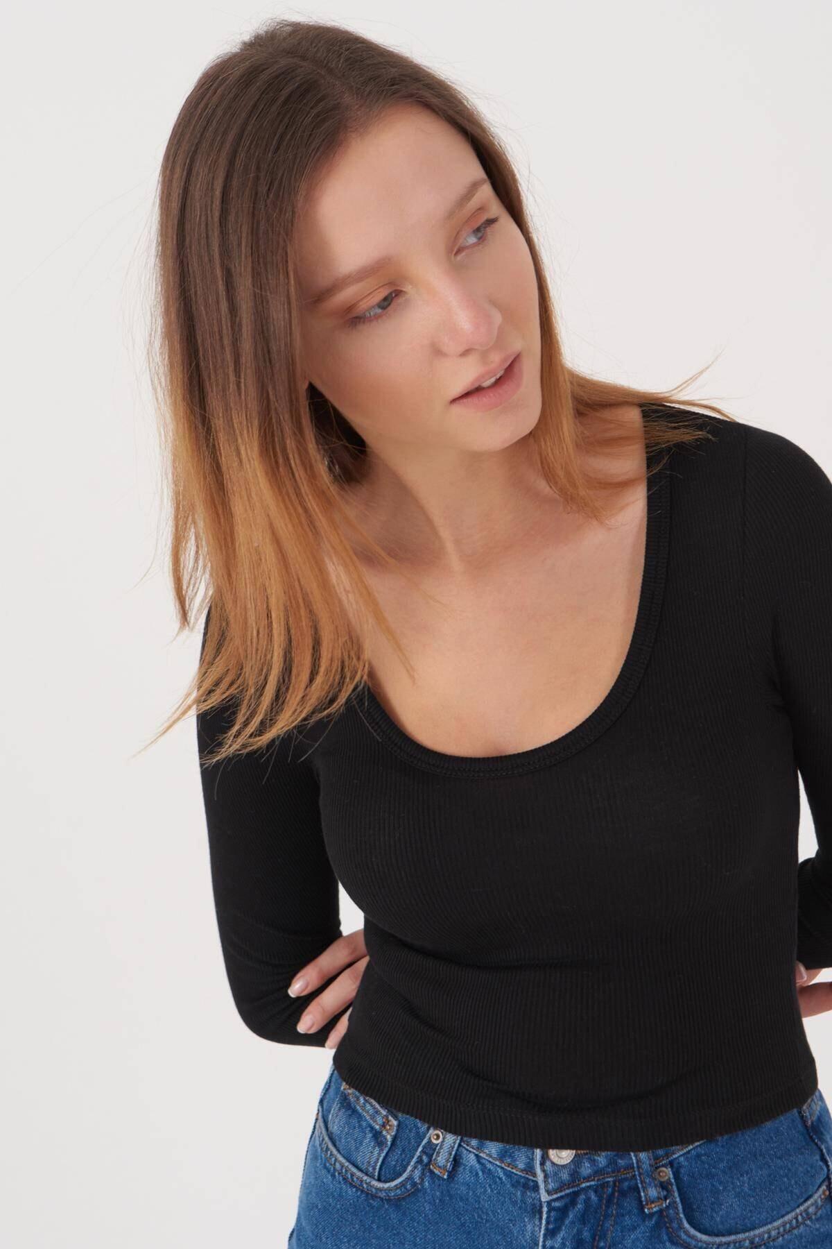 Addax Kadın Siyah Basic Bluz B1090 - T13 ADX-0000023405 4