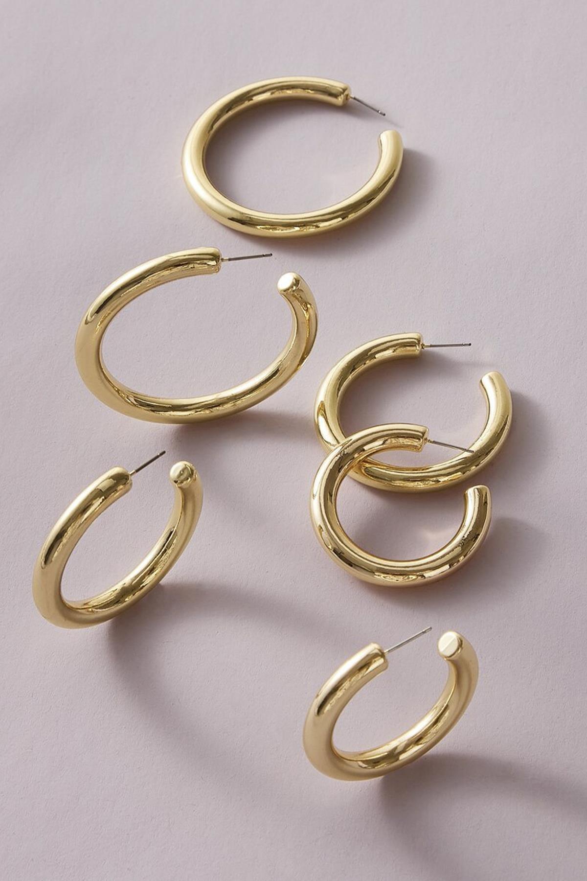 Kadın Altın Renk Kalın Halka Küpe 3'lü Set