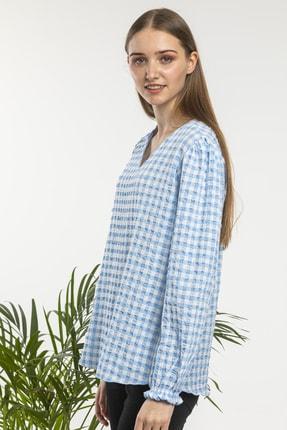 candybia Kadın Mavi V Yaka Ekose Desenli Bluz 2