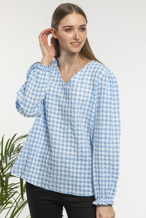 candybia Kadın Mavi V Yaka Ekose Desenli Bluz 3