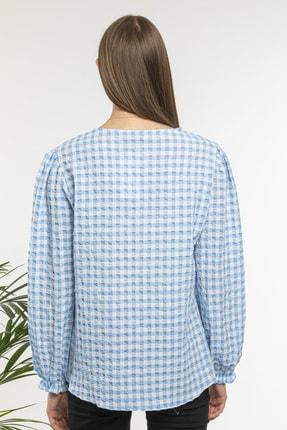 candybia Kadın Mavi V Yaka Ekose Desenli Bluz 4