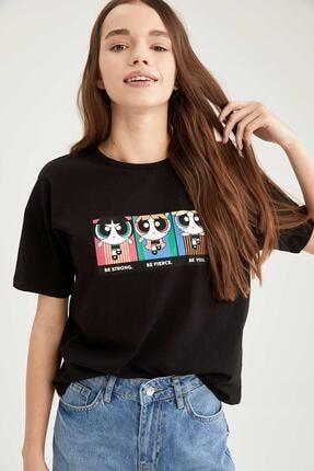 Defacto Kadın Siyah Powerpuff Girls Lisanslı Bisiklet Yaka Relax Fit T-Shirt 2