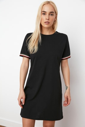 TRENDYOLMİLLA Siyah Şerit Detaylı Örme  Elbise TWOSS19FV0107 0